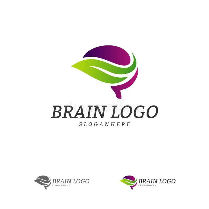 Natur Brain Logo Vector Template Brain Mind mit Blatt Logo Concepts vektor abbildung