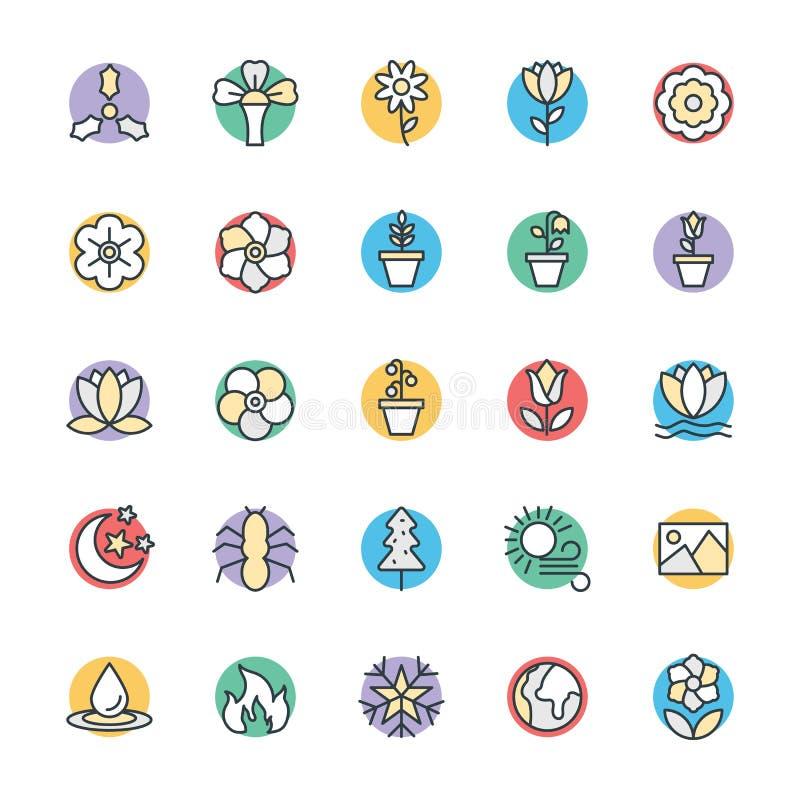 Natur Chłodno Wektorowe ikony 5 ilustracji