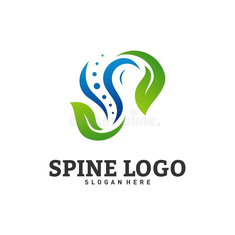 Natur-Dornlogo-Konzept- des Entwurfesvektor Chiropraktiklogoschablone Medizinischer Dorn-Blatt-Logovektor stock abbildung