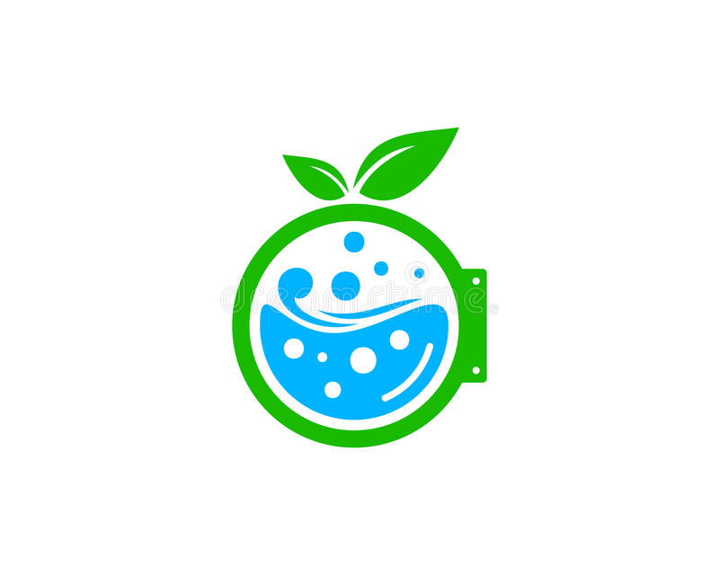 Natur Eco-Wäscherei-Ikone Logo Design Element stock abbildung