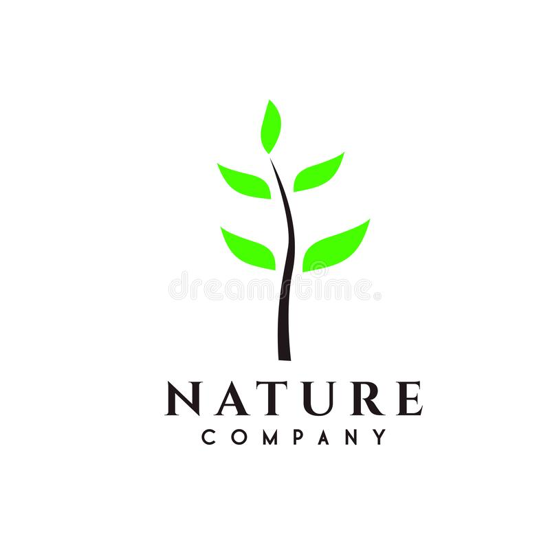 Natur eller träd, växtlogodesign stock illustrationer