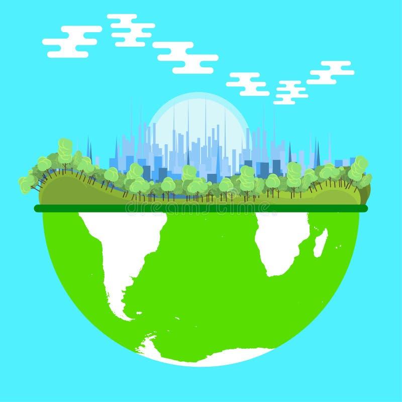 Natur för gräsplan för ekosystemmiljövektor Värld för stad för energi för Eco symbolbegrepp Biologi för blå bakgrund för ekologi  vektor illustrationer