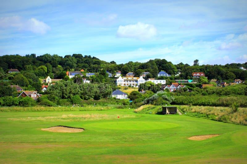 Natur för Hythe golfbanaKent England gräsplan arkivbild