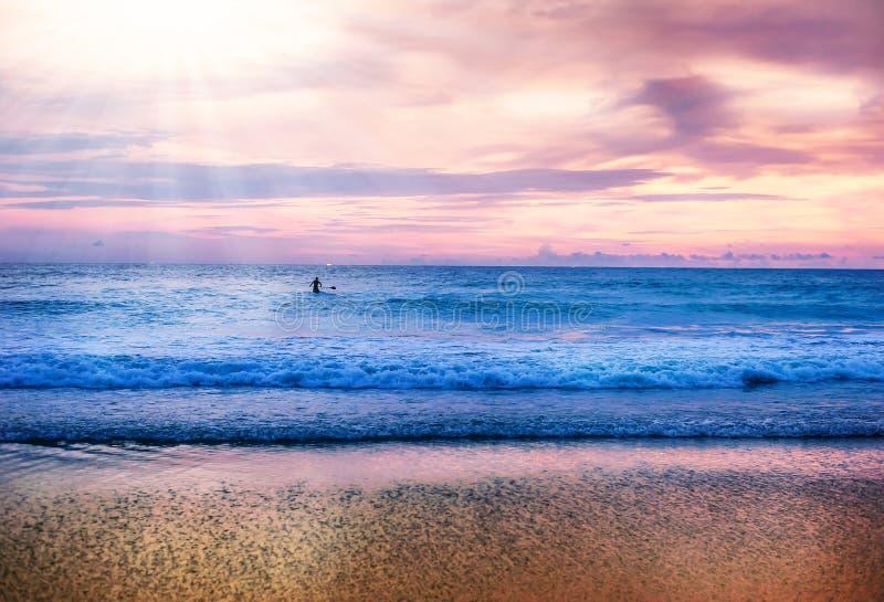 Natur för landskap för strandsandseascape i skymning royaltyfri fotografi