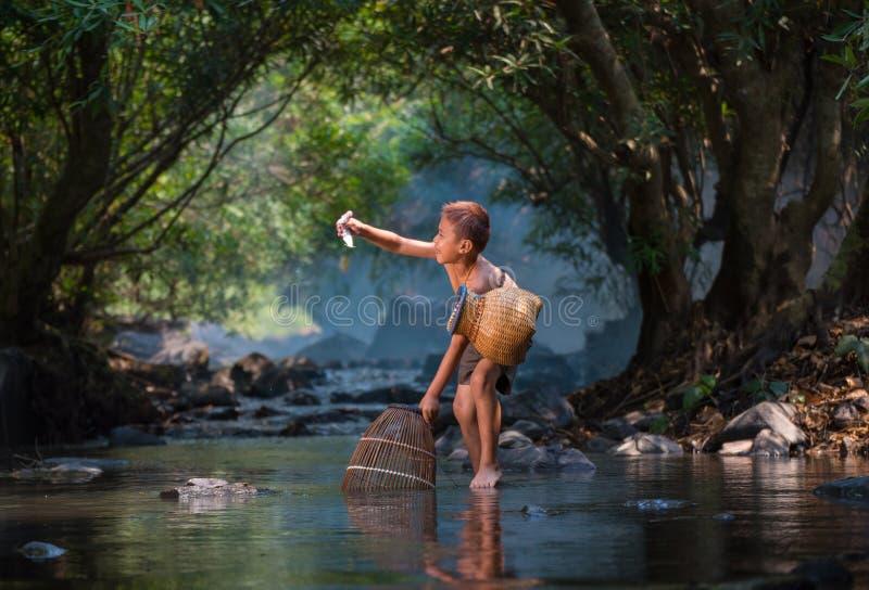 Natur för pojkelekvatten royaltyfria foton