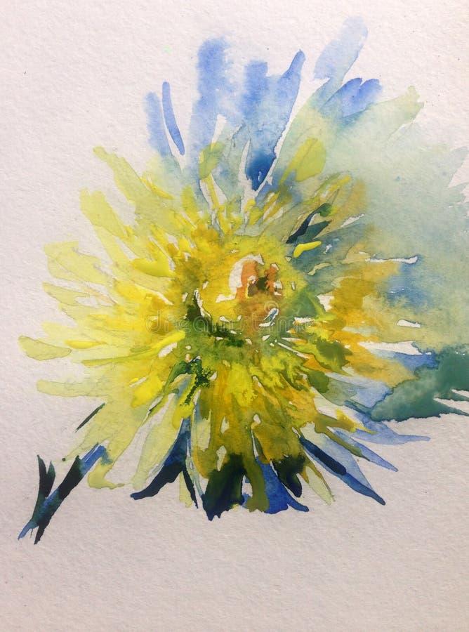 Natur för romantiker för dahlia för gult ljus för blomma för vattenfärgkonstbakgrund blom- royaltyfri illustrationer