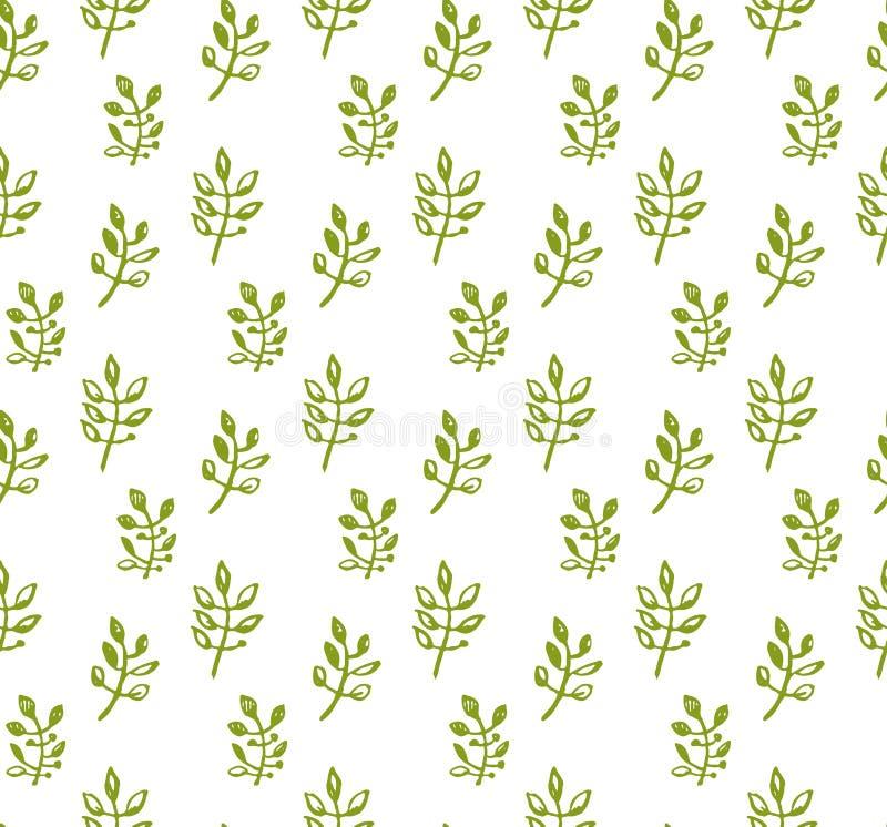 Natur grafika eamless deseniowa ręka rysujący zieleni sprigs opuszczają royalty ilustracja