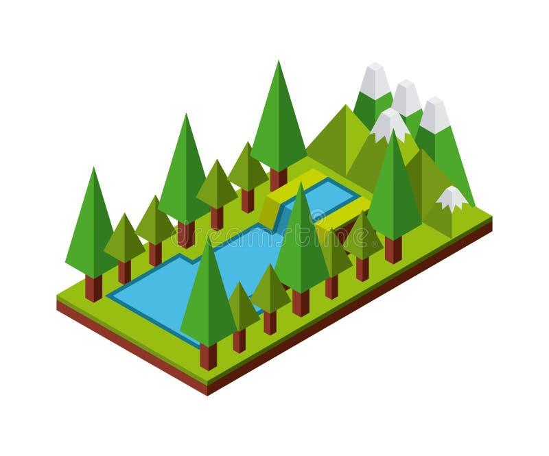 Natur i PIXELdesign vektor illustrationer