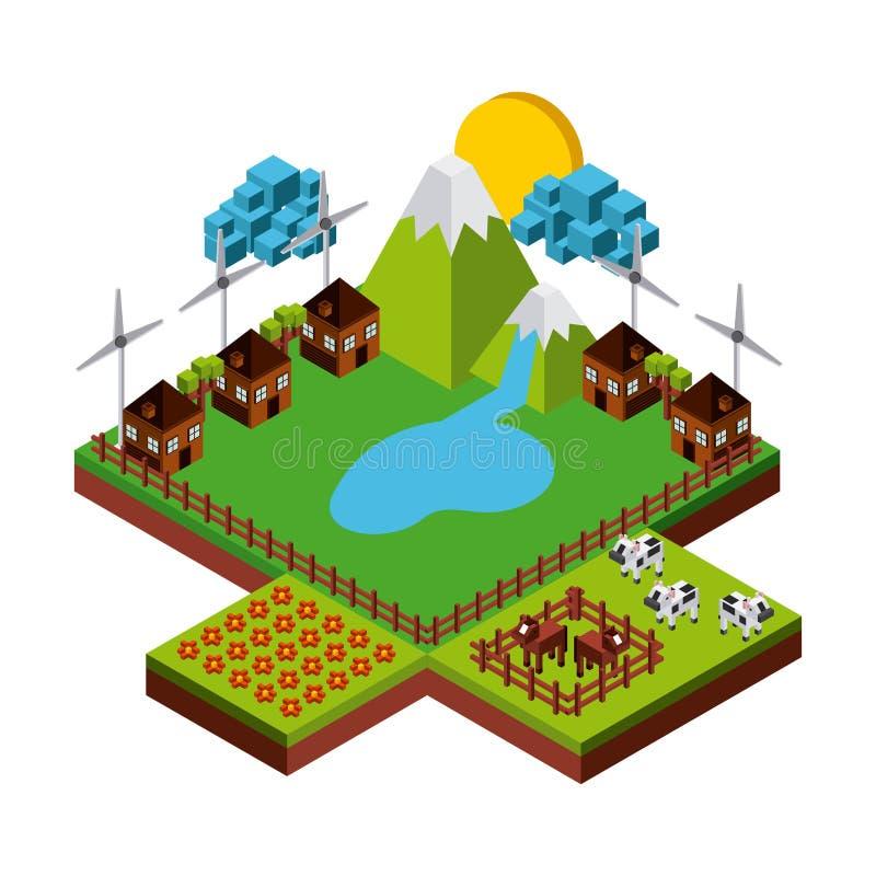 Natur i PIXELdesign royaltyfri illustrationer