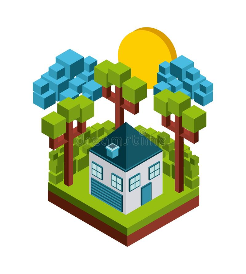 Natur i PIXELdesign stock illustrationer