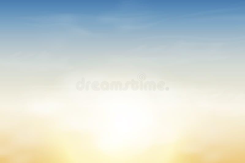 Natur-Landschaftshintergrund mit weichem blauem Himmel und flaumigen weißen realistischen Wolken Auch im corel abgehobenen Betrag vektor abbildung