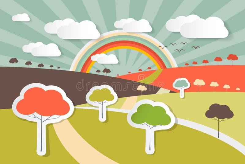 Natur-Landschaftsländliche Szenen-Illustration lizenzfreie abbildung
