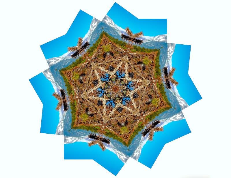 Natur Mandala Water och berg stock illustrationer