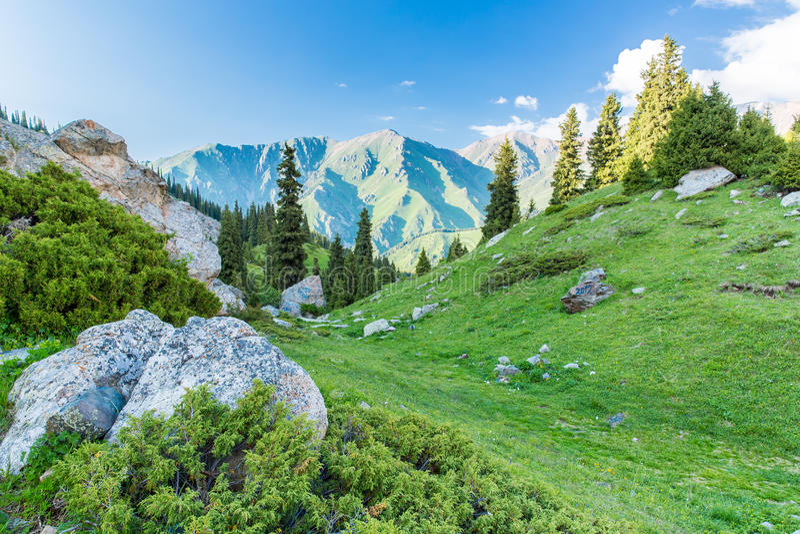 Natur nahe großem Almaty See, Tien Shan Mountains in Almaty, Kasachstan, Asien lizenzfreie stockfotografie
