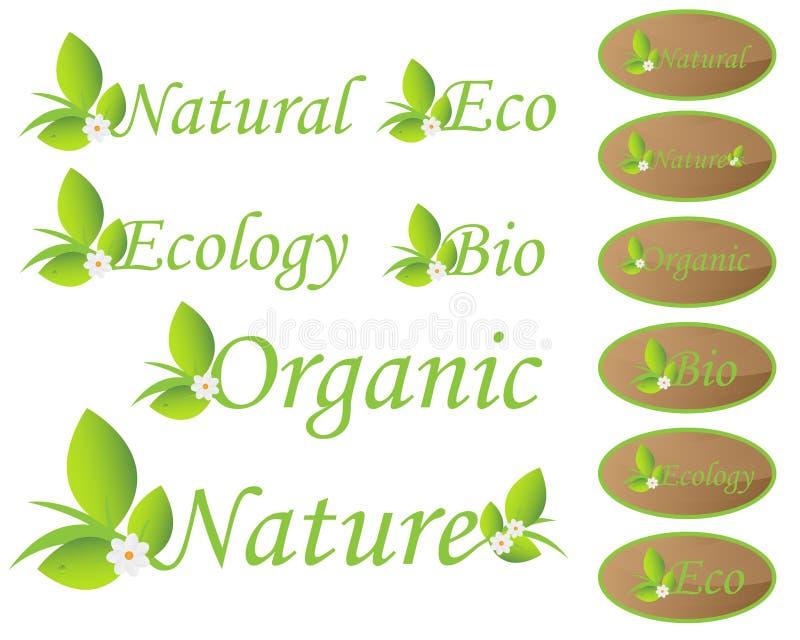 Natur- och ekologietiketter stock illustrationer