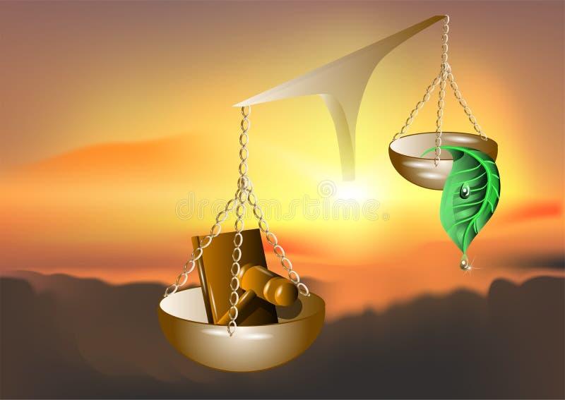 Natur och lagen royaltyfri illustrationer