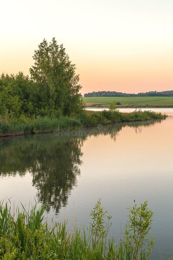 Natur och landskap av Ryssland Resa till och med den Saratov regionen, den Volga regionen Otta gryning på sjön i bra royaltyfri foto