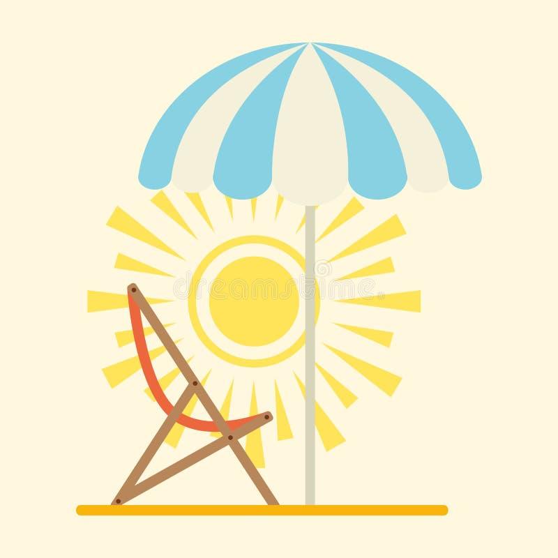 Natur-Paradieskonzept der Sun-Strandansicht atropical sonniges mit Tuchurlaubsreise-Designvektor des Regenschirmes hellem lizenzfreie abbildung