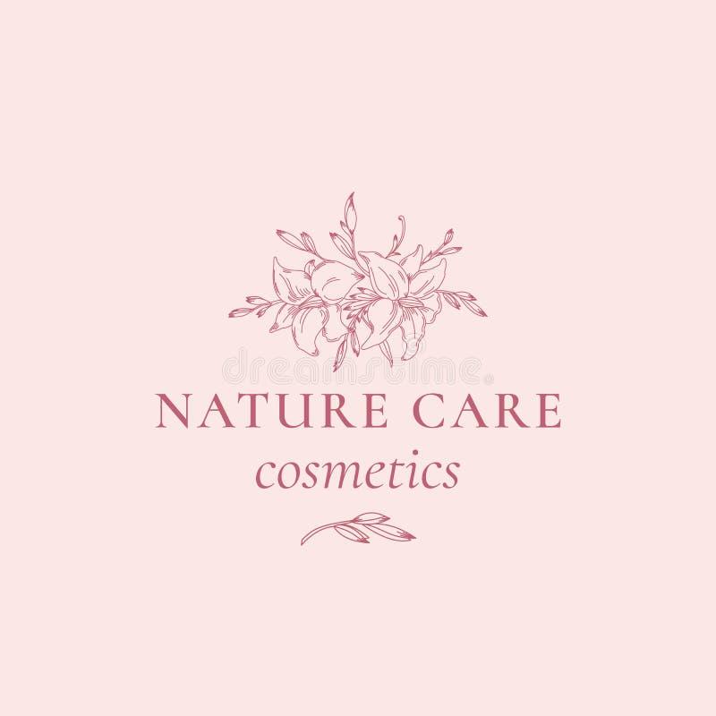 Natur-pflegende Kosmetik-abstraktes Vektor-Zeichen, Symbol oder Logo Template Hand gezeichnete Retro- Lilly Illustration mit nobl stock abbildung