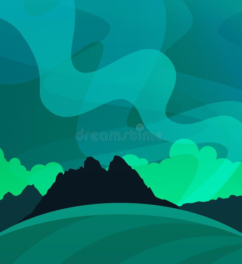 Natur-Tapete mit Nordlichtern nachts, Illustration der skandinavischen polaren Natur lizenzfreie abbildung