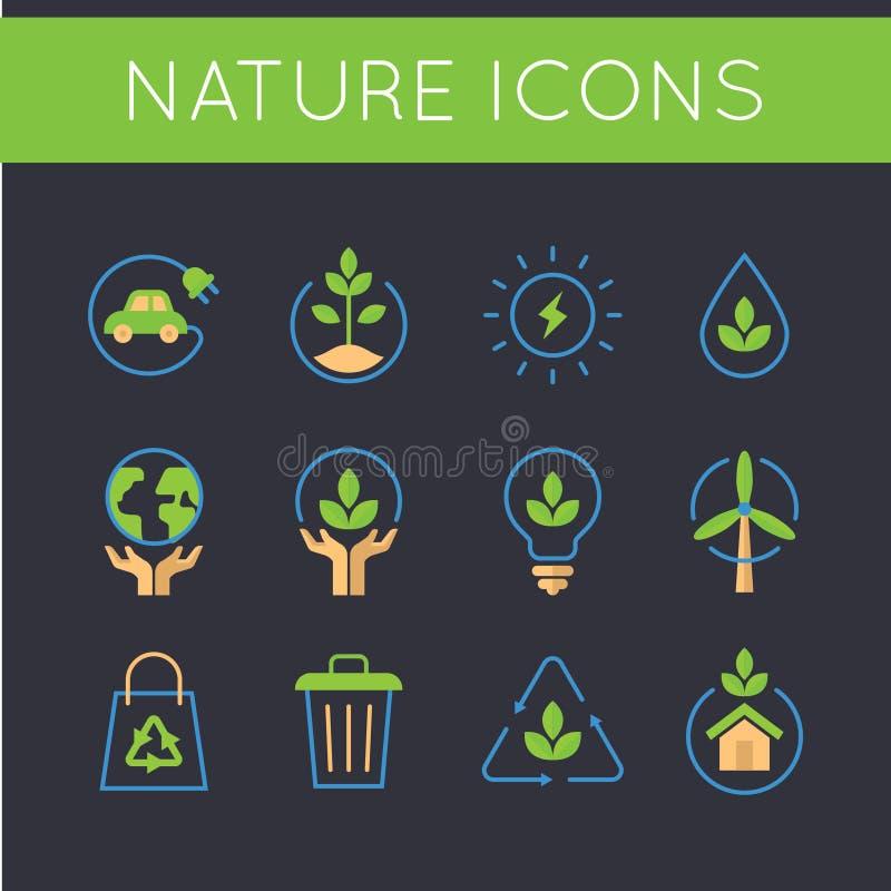 Natur und gehen Ikonen grüne lizenzfreie abbildung