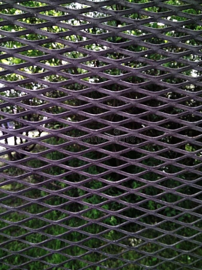 Natur und Grün hinter Metallstangen an einem Sommertag lizenzfreie stockfotos