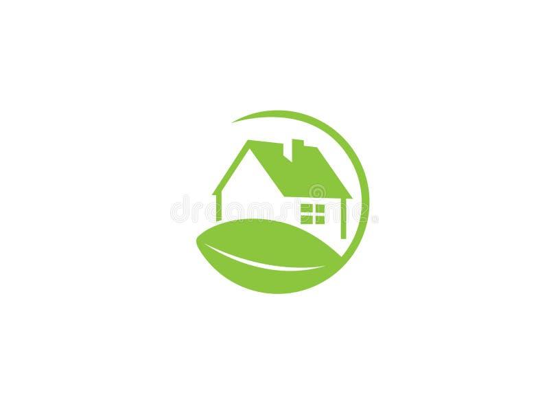 Natur-vänskapsmatch hem ett grönt ecohus med ett blad för logodesignillustration royaltyfri illustrationer