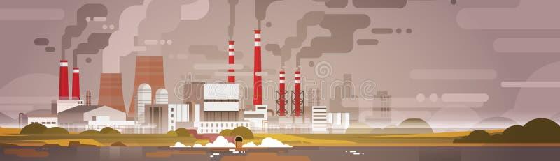 Natur-Verschmutzungs-Betriebsrohr-schmutzige überschüssige Luft und Wasser verunreinigte Umwelt vektor abbildung