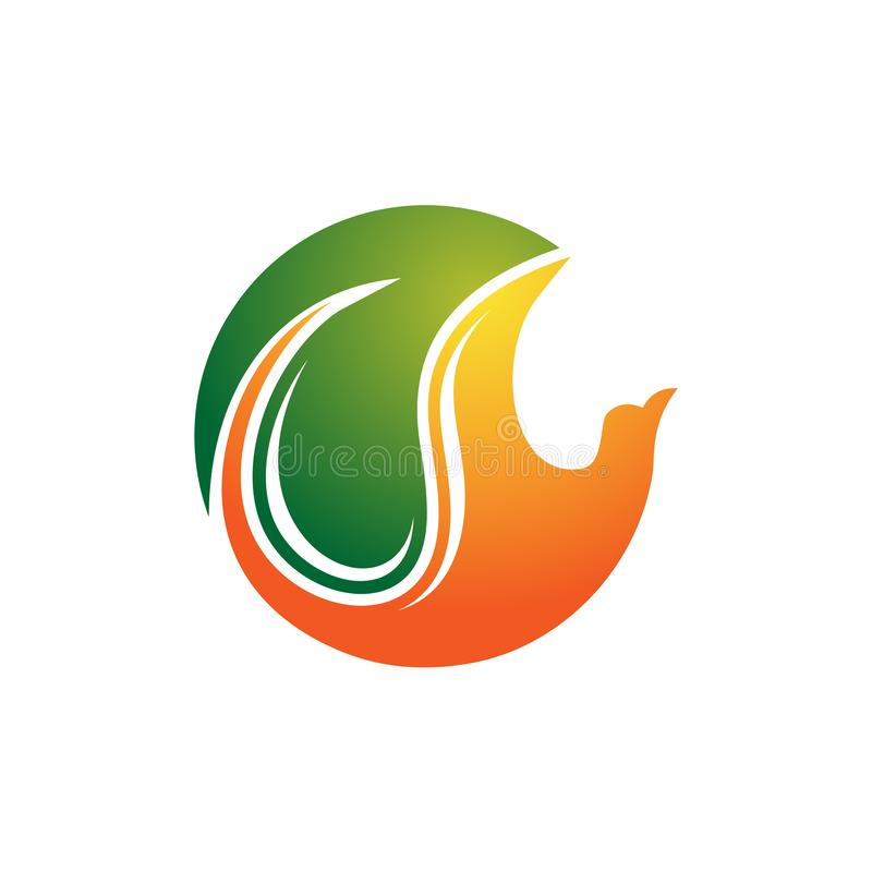Natur-Vogel-Fliegen-Tierbetriebserhaltung Eco-Logo vektor abbildung
