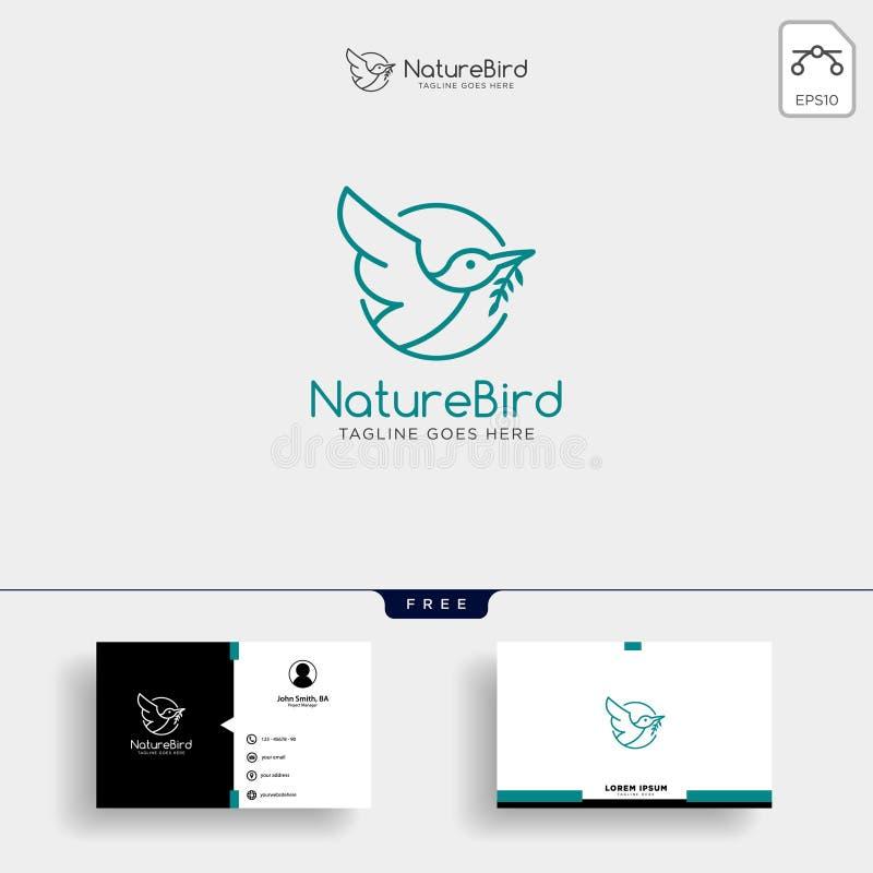 Natur-Vogel-Linie Kunst oder Entwurfslogoschablone und -Visitenkarte lizenzfreie abbildung