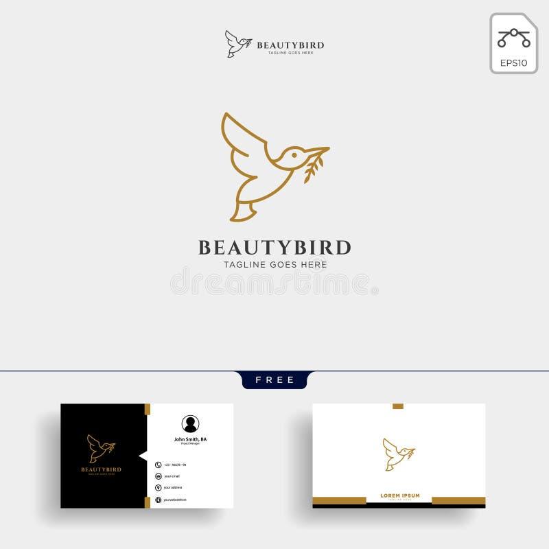Natur-Vogel-Linie Kunst oder Entwurfslogoschablone und -Visitenkarte vektor abbildung