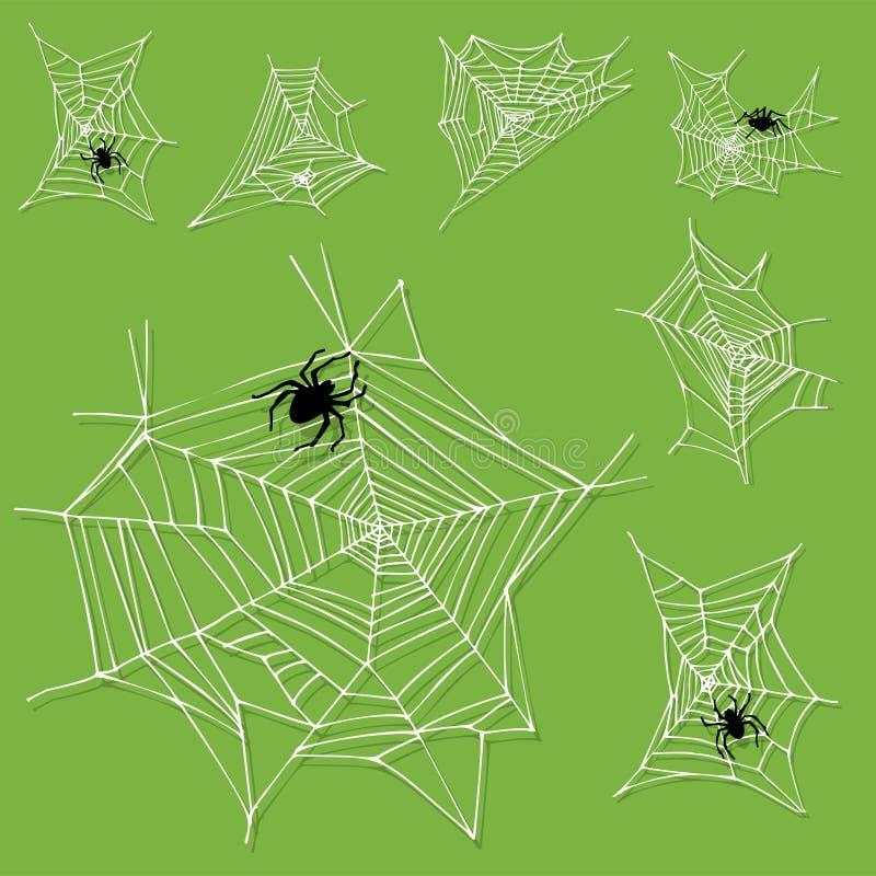 Natura animale spaventosa piana grafica di progettazione di timore dell'aracnide della siluetta della ragnatela illustrazione vettoriale