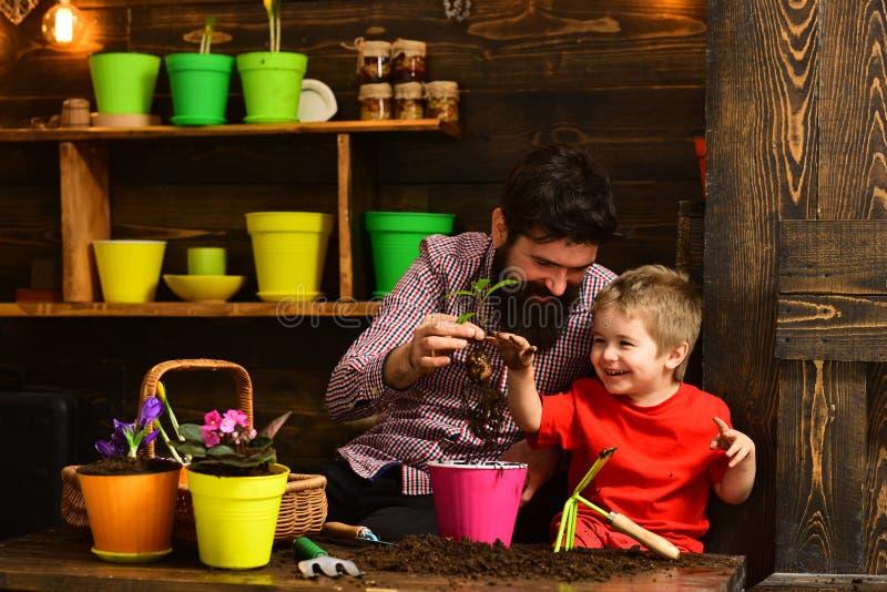 Natura barbuta di amore del bambino del ragazzino e dell'uomo giardinieri felici con i fiori della molla Padre e figlio Giorno de fotografia stock libera da diritti
