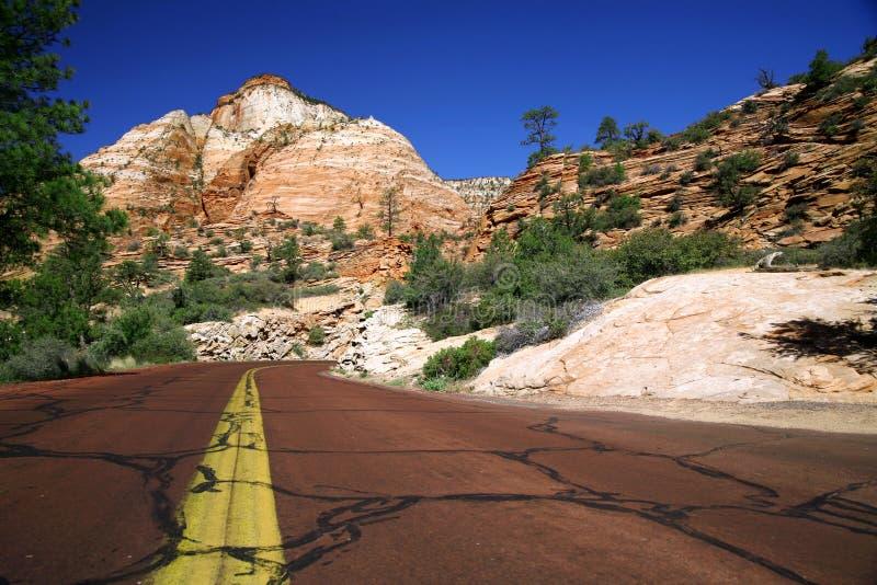Natura classica dell'America - strada in Zion NP fotografia stock libera da diritti