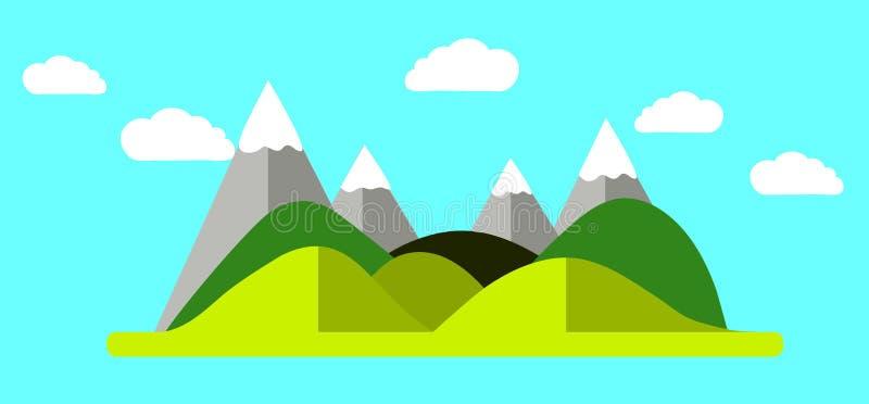 Natura con le montagne, i fiumi e la bella illustrazione di vettore del cielo illustrazione vettoriale