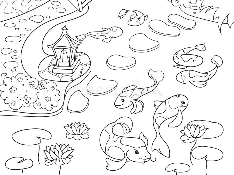 Natura del libro da colorare del Giappone per il fumetto dei bambini Illustrazione giapponese di vettore del giardino illustrazione vettoriale