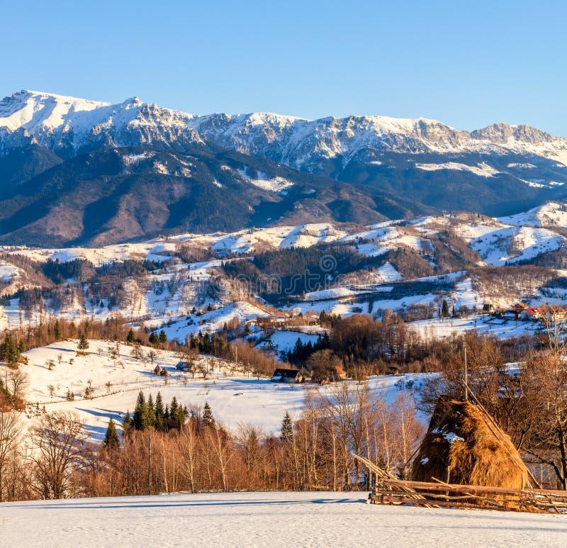 Natura della Romania, paesaggio della campagna, paesaggio nell'inverno immagine stock