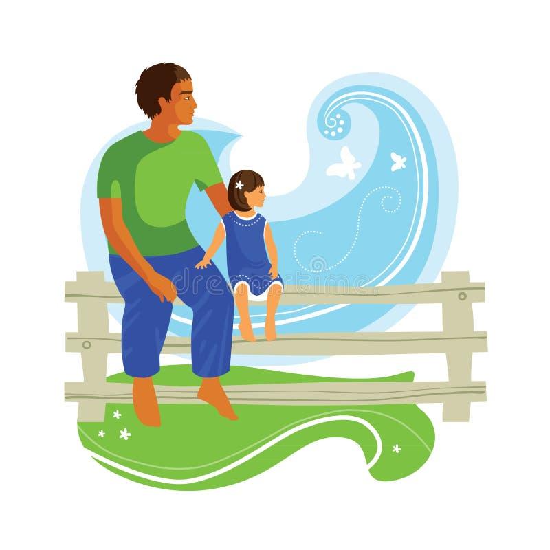 Natura di sorveglianza del bambino e del padre illustrazione di stock