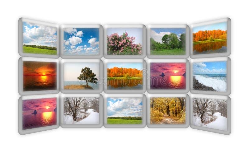 Natura di stagione sul collage di molti schermi del grunge immagini stock libere da diritti