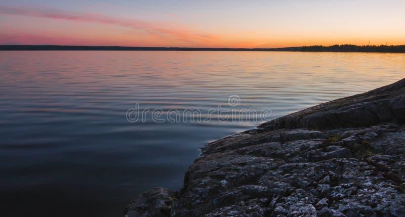 Natura di stupore della Carelia, foto di alba e del tramonto, aurora boreale immagine stock libera da diritti