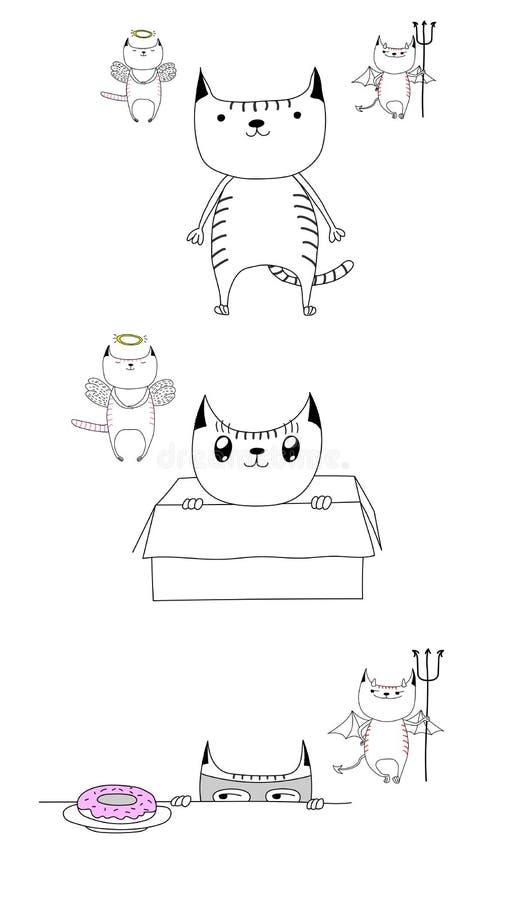 Natura dualistica di un gatto illustrazione di stock