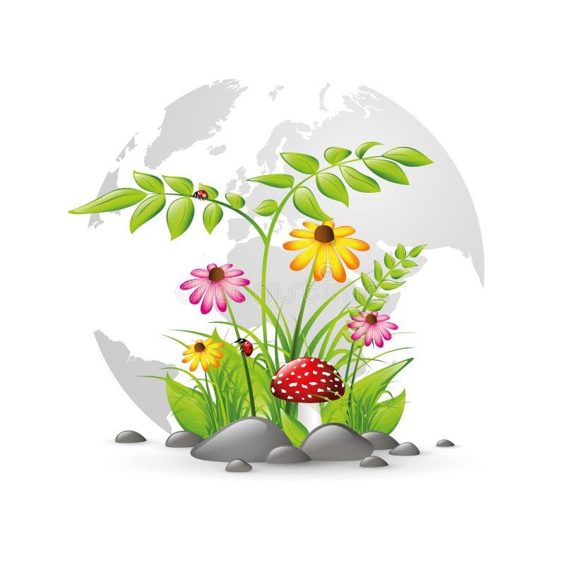 Natura e piante su terra con i fiori colourful illustrazione vettoriale