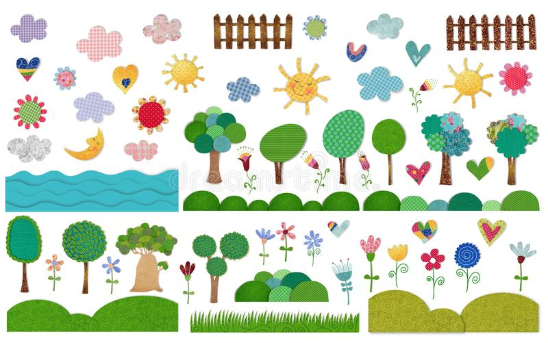 Natura elementy ustawiający royalty ilustracja