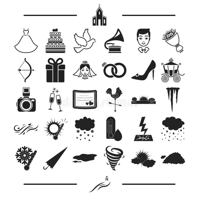 Natura, fenomeno, ecologia e l'altra icona di web nello stile nero spettacolo, svago, icone degli accessori nell'insieme royalty illustrazione gratis