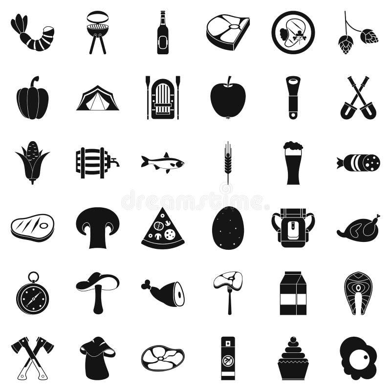 Natura grilla ikony ustawiać, prosty styl ilustracji