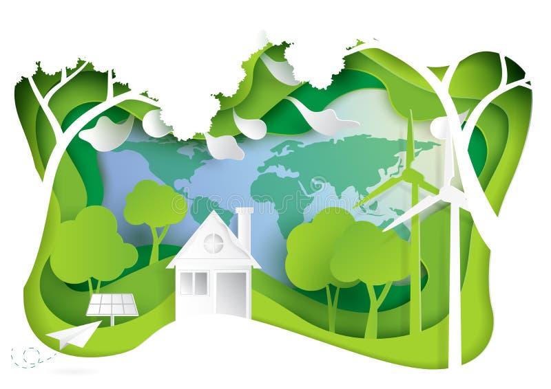 Natura krajobraz i eco życzliwy pojęcie royalty ilustracja