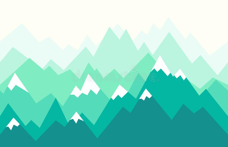 Natura krajobraz w geometrycznym stylu ilustracyjny bezszwowy wektor ilustracji