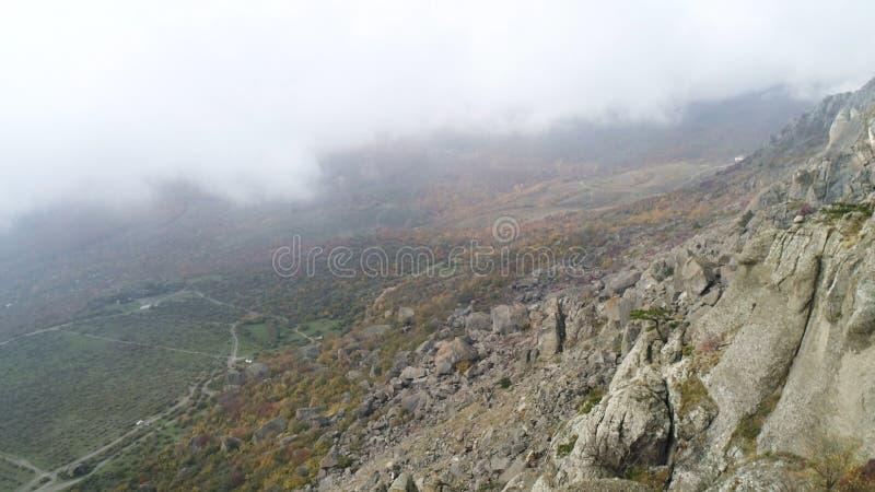 Natura krajobraz, widok z wierzchu wzgórza na kolorze żółtym i zielona dolina w gęstej mgle, strzał Antena dla stromego skłonu fotografia stock