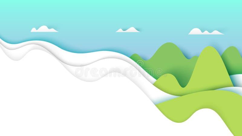 Natura krajobraz z chmurami i górami ilustracja wektor