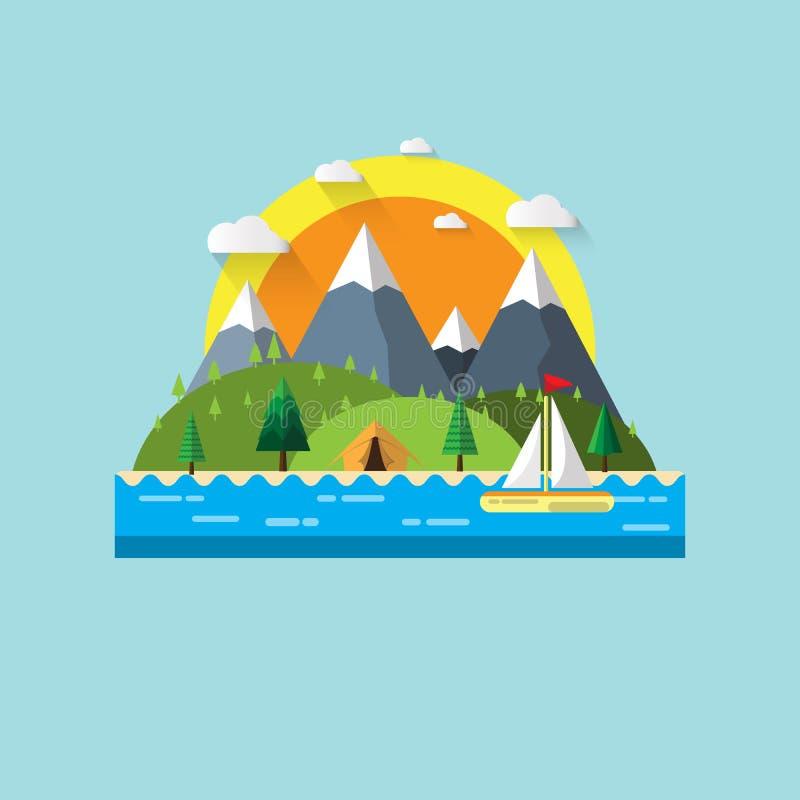 Natura krajobrazowy płaski projekt ilustracja wektor